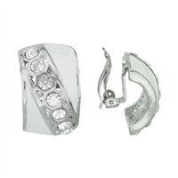 Decorative Diagonal Stripe Crystal Silver & White Clip-On Earrings