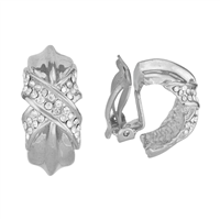 Unique & Decorative Crystal X Silver Clip-On Earrings