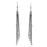 Tasteful Classy Sparkling Clear Crystal Tassel Inspired Silver Toned Post Dangle Earrings