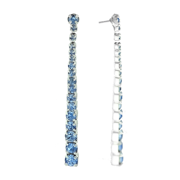 Blue Crystal Chain Drop Earrings
