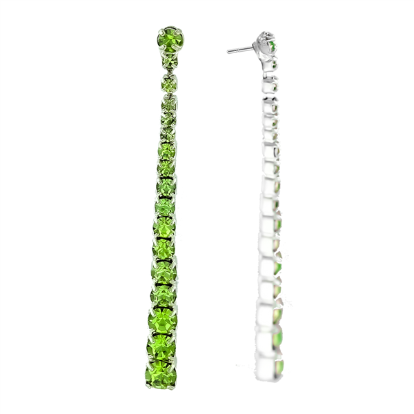 Green Crystal Chain Drop Earrings
