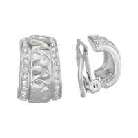 Stylish Crystal Sides Bumpy Middle Design Silver Clip-On Earrings