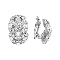Gorgeous Sparkling Crystal Silver Clip-On Earrings