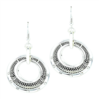 Simple Stylish Triple Circle Silver Toned Post Dangle Earrings