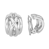 Chic Smooth Bulge X Silver Clip-On Earrings