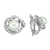 Elegant Full Crystal Faux Pearl Silver Clip-On Earrings