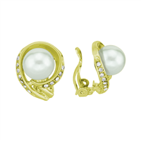 Elegant Half Crystal Faux Pearl Gold Clip-On Earrings