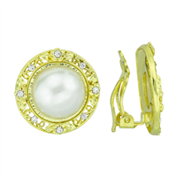 Elegant Crystal and Faux Pearl Gold Clip-On Earrings