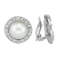 Elegant Crystal and Faux Pearl Silver Clip-On Earrings