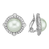 Elegant Shimmering Crystal & Faux Pearl Gold Clip-On Earrings