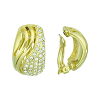 Gorgeous Crystal Swirl Gold Clip-On Earrings