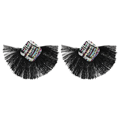 Diamond Knit Tassel Earrings | Black