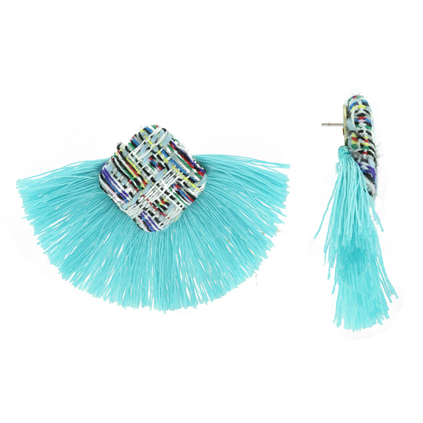 Turquoise Knit Tassel Earrings