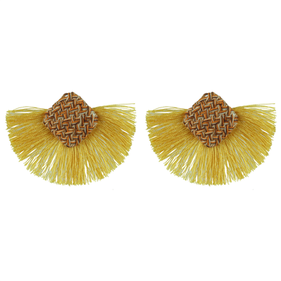 Yellow Diamond Knit Tassel Earrings