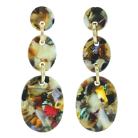 Stylish & Colorful Rounded Acrylic Earrings with Gold Accents