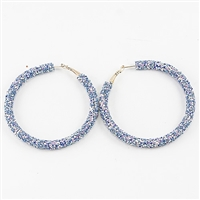 Chic 60MM Blue Crystal Flake Hoop Gold Earrings