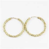 Chic 60MM Gold Crystal Flake Hoop Gold Earrings