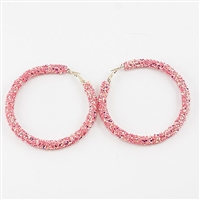 Chic 60MM Pink Crystal Flake Hoop Gold Earrings
