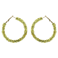 Chic 50MM Gold Crystal Dust Hoop Gold Earrings