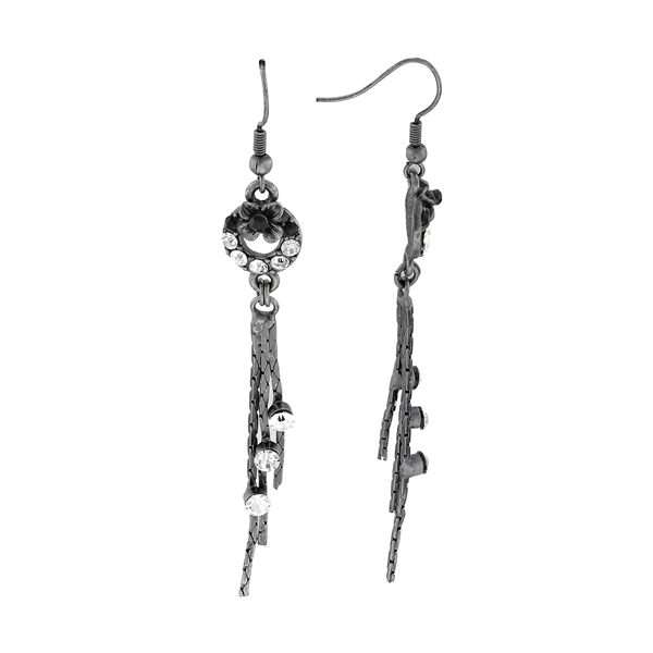 Simple Stylish Sparkling Black & Clear Crystal Aluminum Drop Post Earrings
