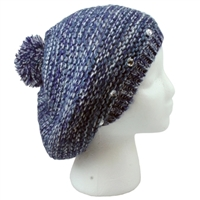 Blue Knitted Pom Beret