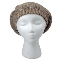Tan Knitted Pom Beret