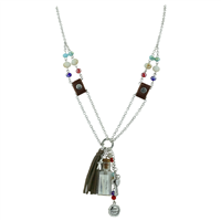 Colorful Fad Crystal Beads Messenger Charms Necklace