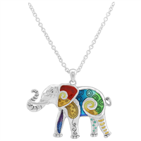 Colorful Epoxy Intriguing Black Accent Designs Silver Elephant Necklace