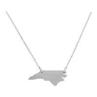 Stylish Fashionable Classy Smoothed North Carolina State Map Silver Necklace