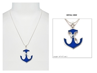 Stylish Silver & Blue Sea Life Anchor Charm Necklace