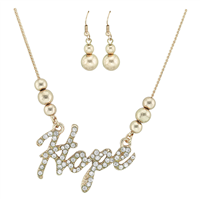 Optimistic & Stylish Crystal Word Text Hope Rose Gold Necklace Set