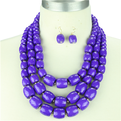 Crystal Stone Necklace Set | Purple