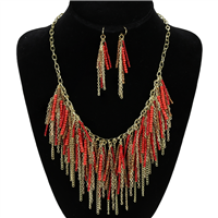 BEADED DROP NECKLACE SET