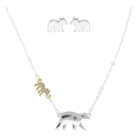 Stylish Lively Wild Mama Bear & Little Bear Silver Stud Earring Two-Tone Necklace Set