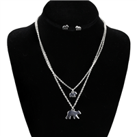 Duel Chain Bear Necklace Set