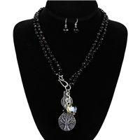 Black Strength Charm Necklace Set