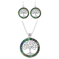 Iridescent & Silver Circle Tree of Life Necklace Set