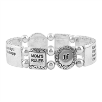 Mom's Rules Black Script Text Stretch Silver Bracelet
