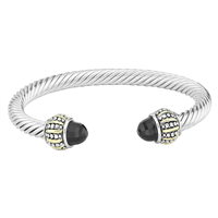 Elegant & Stylish Black Crystal & Silver Posh Twisted Cable Open Cuff Bangle