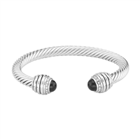 Elegant & Stylish Black & Clear Crystal Silver Honeycomb Twisted Cable Open Cuff Bangle