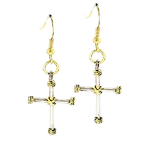 Stylish Two-Tone Cross Thin Rope Gold Toned Post Dangle Earrings
