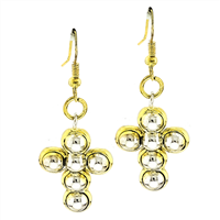 Stylish Spiritual Faith Bubbly Two-Tone Cross Fish Hook Dangle Earrings