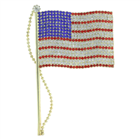 Patriotic Red, Clear & Blue Crystal American Flag Pin