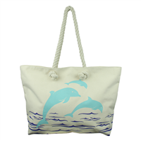 Spacious & Stylish Aqua & Royal Blue Jumping Dolphin Ivory Beach Tote Bag