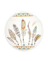 Big Chic Colorful Feathered Themed Round Beach Towel