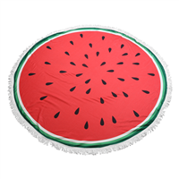 Big Chic Red, Green, White & Black Watermelon Themed Round Beach Towel