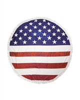 Big Chic Red, White & Blue American Flag Stars & Stripe Themed Round Beach Towel