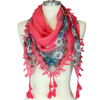 Pink & Colorful Floral Fringed Scarf