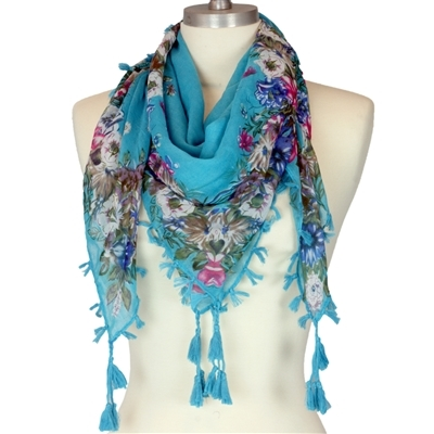 Turquoise & Colorful Floral Fringed Scarf