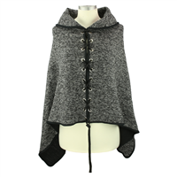 THE SHAWL COLLAR PONCHO | GRAY MIX
